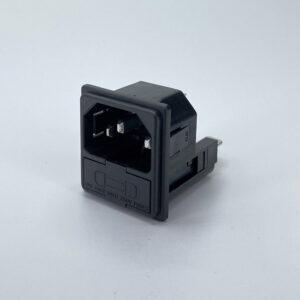 0278-1-Q connettore iec c14 maschio 10a snap in 2 fusibili